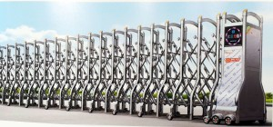 Cổng xếp inox, cổng điện inox tự động