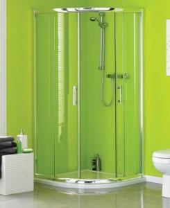 Phòng tắm kính 2 mặt góc cong