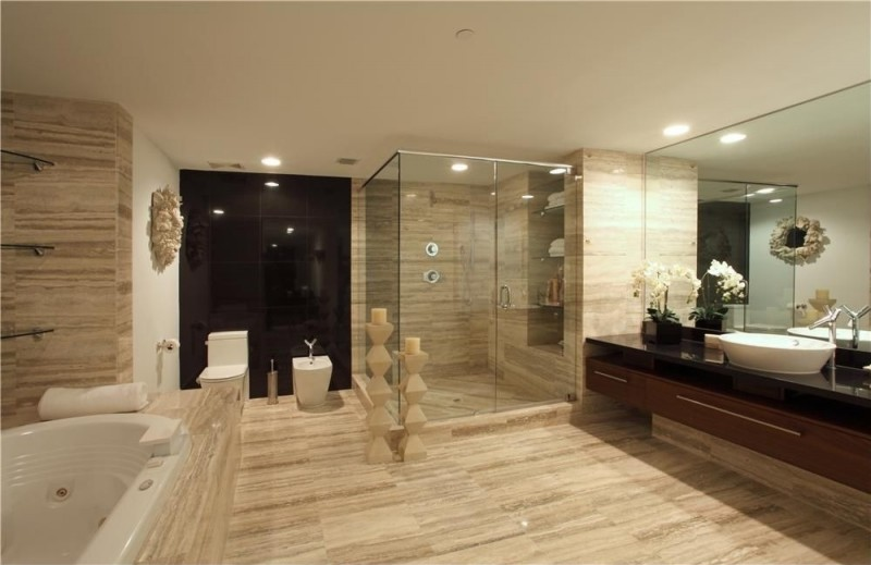 contemporary master bathroom with frameless shower bathroom tile and accent wall i g IS 68ktptx88319 DsvF1 800x519