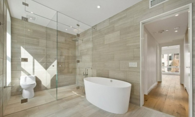 Stylish Glass Shower Door with Oval Tub and Chic Scandinavian Bathroom Ideas 800x480