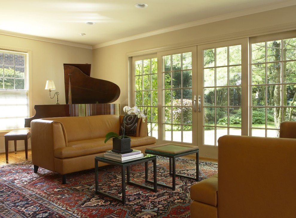 sliding patio door window treatments Living Room Eclectic with area rug ceiling lighting